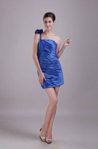 Cute One Shoulder Ruched Blue Mini Prom Dresses for Flat Chested Girls