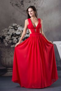 Clearance Red Chiffon Long Prom Gown Dress with Cutouts under 150