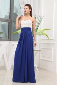 Sweetheart White and Blue Maxi Prom Dress for Ladies with Beaded Bust