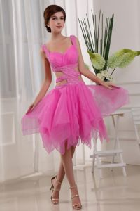 Sexy Knee-length Straps Organza Beaded Prom Dress in Hot Pink in Fairfax