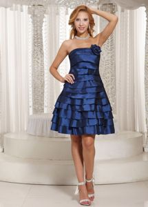 A-line Ruched Navy Blue Formal Prom Dresses in Taffeta in Fairfax VA
