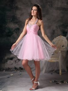 Straps Pink Mini-length Prom Dresses with Beading in Port Townsend