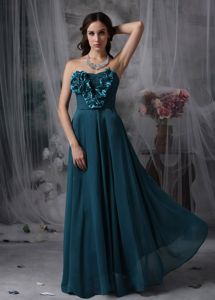 Strapless Floor-length Prom Attire in Dark Cyan with Hand-made Flowers