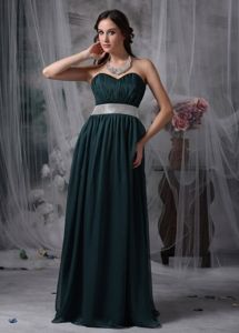 Dark Green Ruched Sweetheart Empire Prom Dresses with Belt in Davie