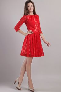 New Red Lace Bateau Zipper-up Prom Dress with 3/4-length Sleeves