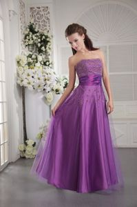 Plus Size Purple Tulle and Taffeta Prom Attire with Beads in Newcastle Down