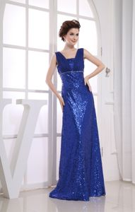 Royal Blue Sequined Semi-formal Prom Dress with Ruches in Amarillo