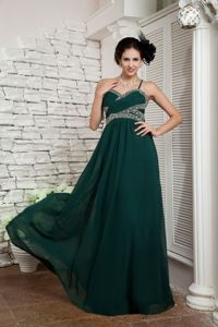 Dark Green Chiffon Beaded Prom Gown with Spaghetti Straps in El Paso