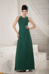 Dark Green Scoop Floor-length Chiffon Prom Outfits with Beading in Denton