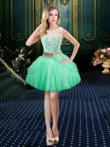 Exceptional Scoop Apple Green Ball Gowns Lace Prom Party Dress Clasp Handle Tulle Sleeveless Mini Length