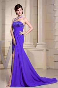 Beaded Prom Dresses with High Slit and Brush Train in Grants Pass