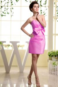 Fuchsia Ruched Strapless Mini-length Senior Prom Dress with Bow
