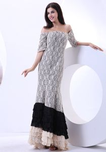 Lace Multi-color Prom Dress for Summer with Short Sleeves Off The Shoulder