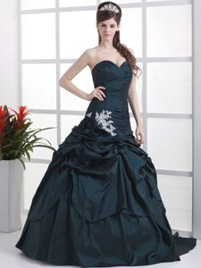 Ball Gown Appliqued Navy Blue Prom Outfits with Pick-ups in Shelby OH