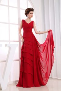 Classic V-neck Wine Red Chiffon Long Prom Dress for Summer 2014