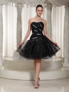 Puffy Pretty Organza Black Beaded Informal Prom Dress for Cocktail Party