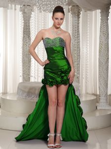 Modest High-low Beaded Dark Green Prom Gowns with Handmade Flowers