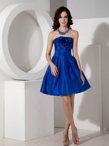 Strapless Royal Blue 50s Style Swing Prom Dresses with Handmade Flower