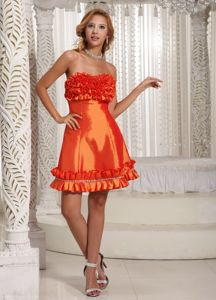 Customized Lace-up Orange Red Short Prom Dress for Summer with Ruffles
