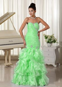 Popular Sweetheart Ruched Ruffled Spring Green Prom Dress for Formal Party