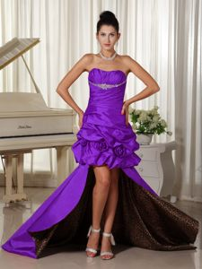 High-low Leopard Print Inside Prom Dress in Purple with Flowers Cheap
