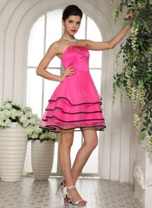 Charming Strapless Organza Hot Pink Short Prom Attire with Appliques