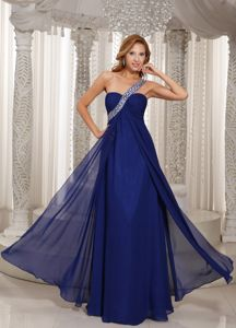 Chiffon Beaded One Shoulder Navy Blue Long Prom Dress for Summer
