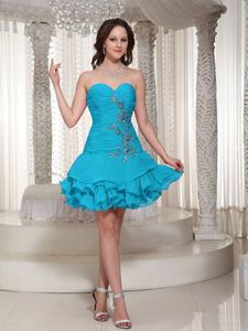 Sweetheart Appliqued Teal Short Senior Prom Dresses with Ruffled Hem