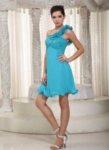 One Shoulder Pleated Ruched Short Prom Gowns in Teal Free Shipping
