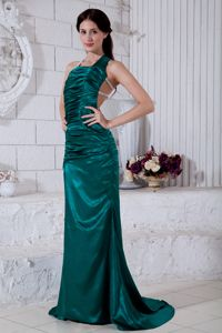 Special Turquoise Ruched Long Prom Outfits with Cool Back in Minot ND