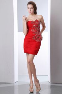 Sexy Chiffon Fitted Red Mini-length Informal Prom Dresses with Beading