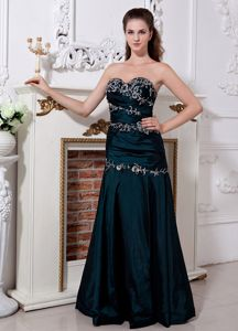 Zipper-up Formal Dark Green Prom Attire with Appliques in Louisburg NC