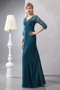 Turquoise V-neck Column Prom Gowns with 3/4 Length Sleeve and Lace in Andalusia