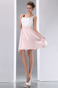 Simple Taffeta White and Pink Mini-length Prom Gowns with Scoop Neck in Cropwell