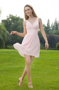 Simple V-neck Baby Pink Prom Attire Chiffon in Ingoldmells Lincolnshire