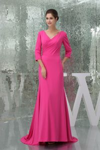 Best Hot Pink Brush Train Prom Gown Dress with 3/4-length Sleeves