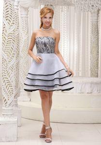 Latest Zebra Bodice Strapless Junior Prom Dress with Layers in Filey North Yorkshire