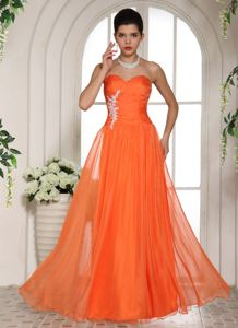 Custom Made Orange Sweetheart Tulle Prom Outfits with Appliques