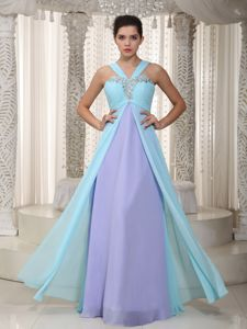 Two-toned Chiffon V-neck Prom Gowns with Beads in Alston Lake District