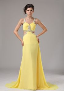 Stylish Yellow Straps Beaded Junior Prom Dress with the Back out
