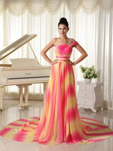 Court Train One Shoulder Prom Dress Ombre Hot Pink Yellow Gradient