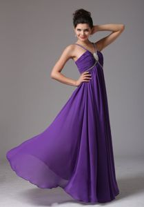 Fast Shipping Eggplant Purple Prom Gown with Beaded Straps in Dickinson ND