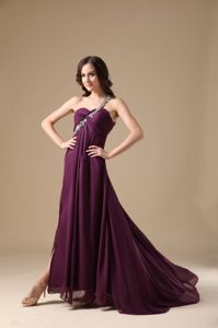 Chiffon One Shoulder Dark Purple Long Prom Gown Dress on Promotion