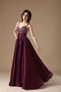 Spaghetti Straps Beaded Dark Purple Long Prom Attire in North Dakota USA