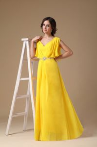 V-neck Custom Made Formal Prom Dress in Yellow with Beading in Rouen