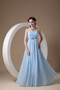 Light Blue Strapless Chiffon Prom Dresses with Beading and Ruches in Perpignan