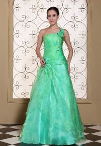 Turquoise One Shoulder Prom Dress with Hand Flowers in Organza in Amiens
