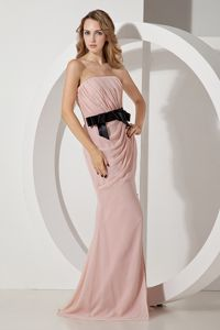 Baby Pink Strapless Chiffon Prom Dress with Bow and Brush Train in Cessnock