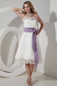A-line Strapless Tea-length Lace Informal Prom Dress with Bow in Grafton
