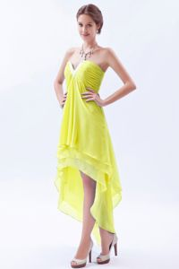 Yellow V-neck High-low Chiffon Prom Dresses with Beading in Nantes France